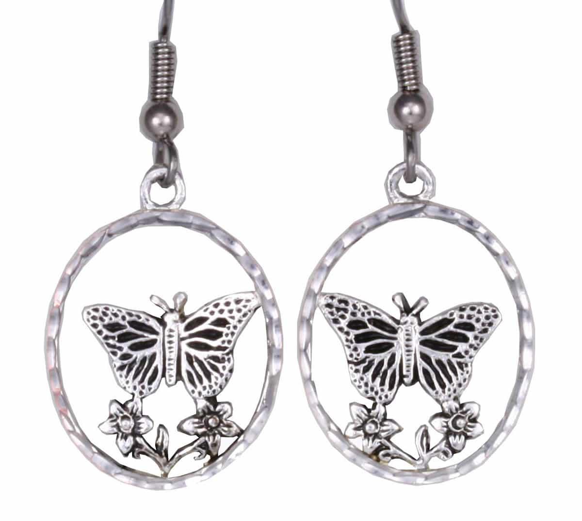 Silver Plated Cast Butterfly Earrings