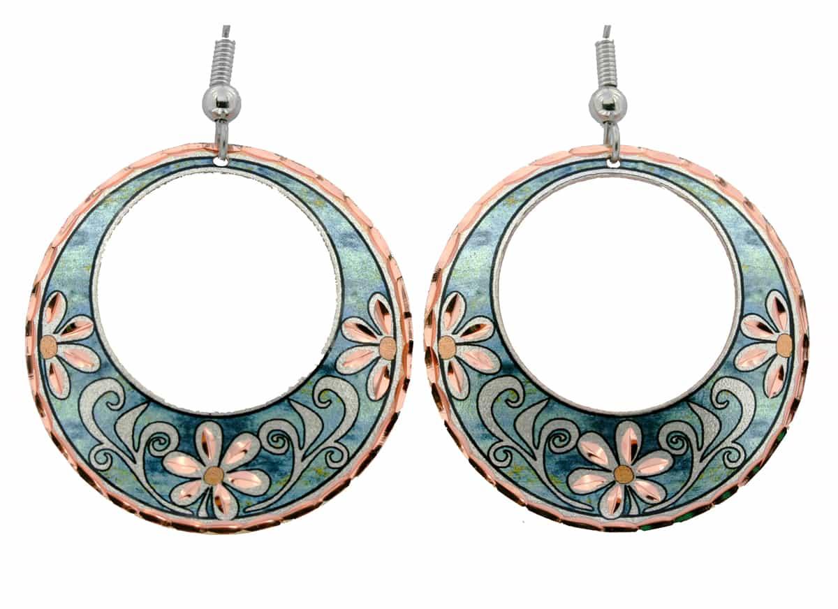 Silvery Green Circle Flower Earrings