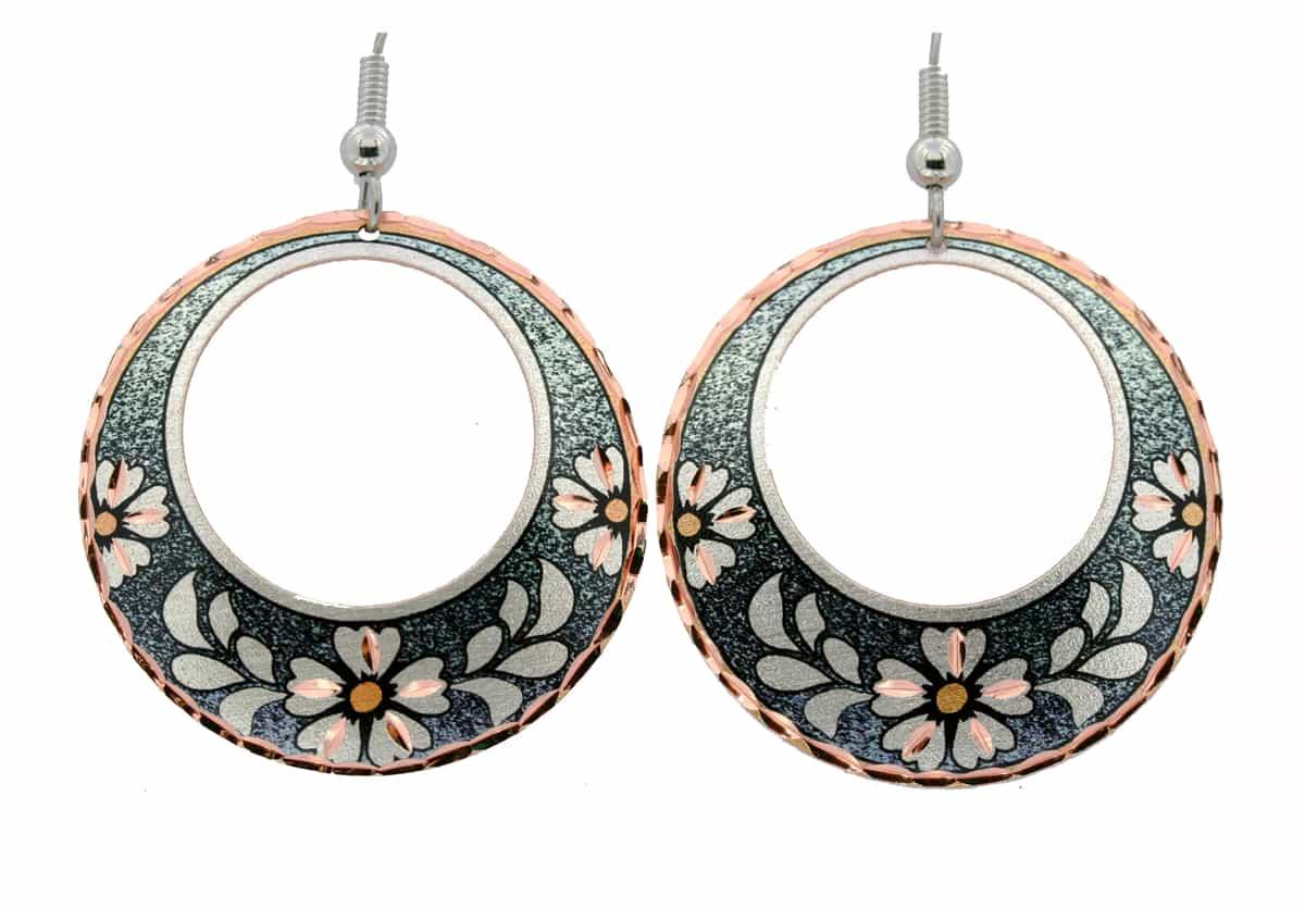 Circle Flower Unique Earrings