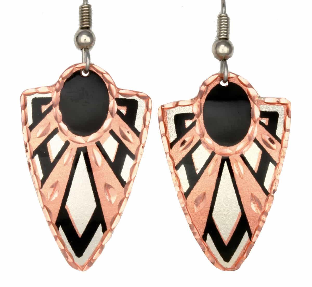Copper Art Deco Earrings