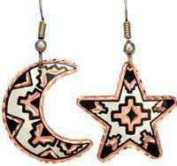 Copper Native Moon and Star Earrings