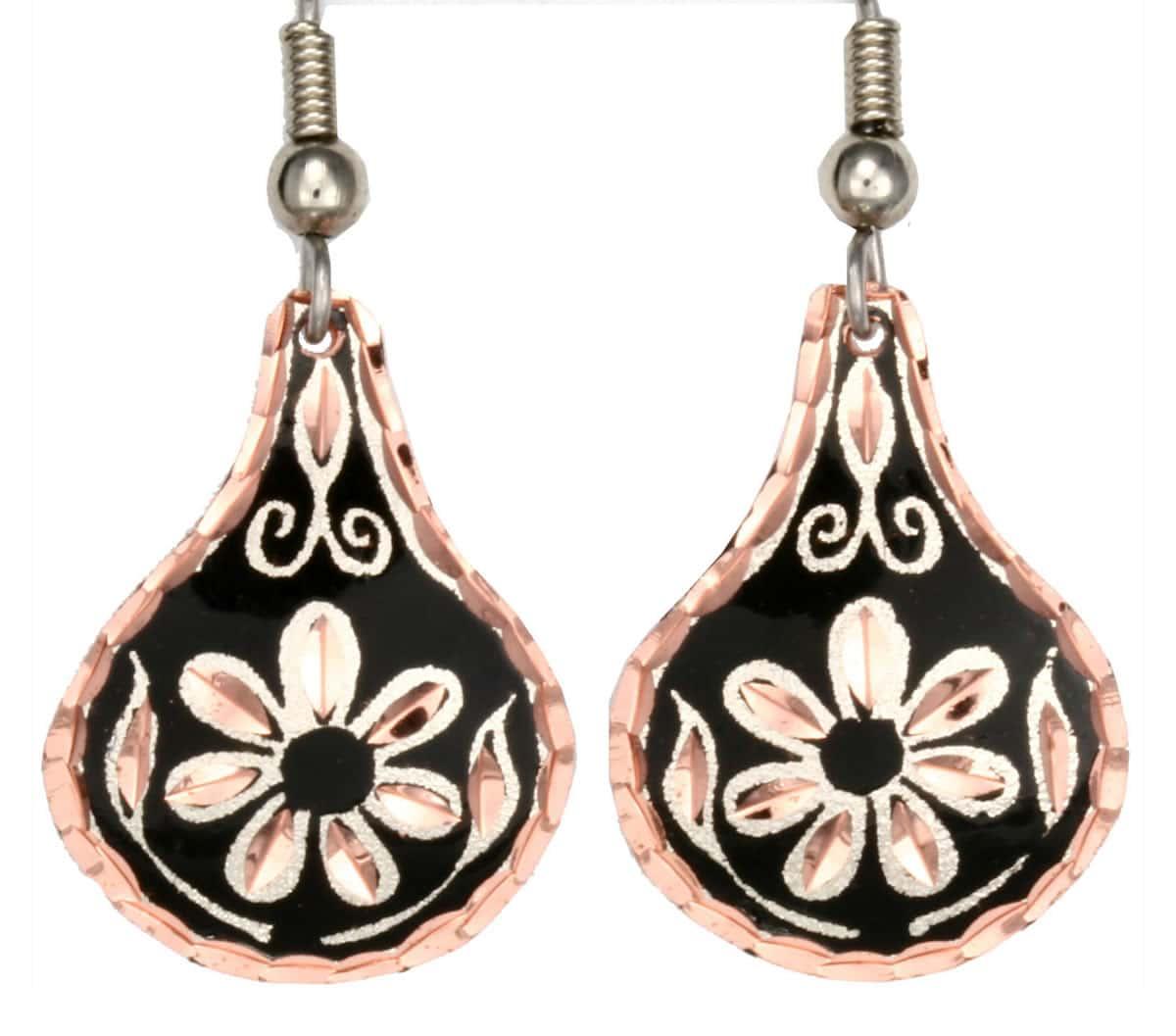 Handmade Copper Flower Earrings
