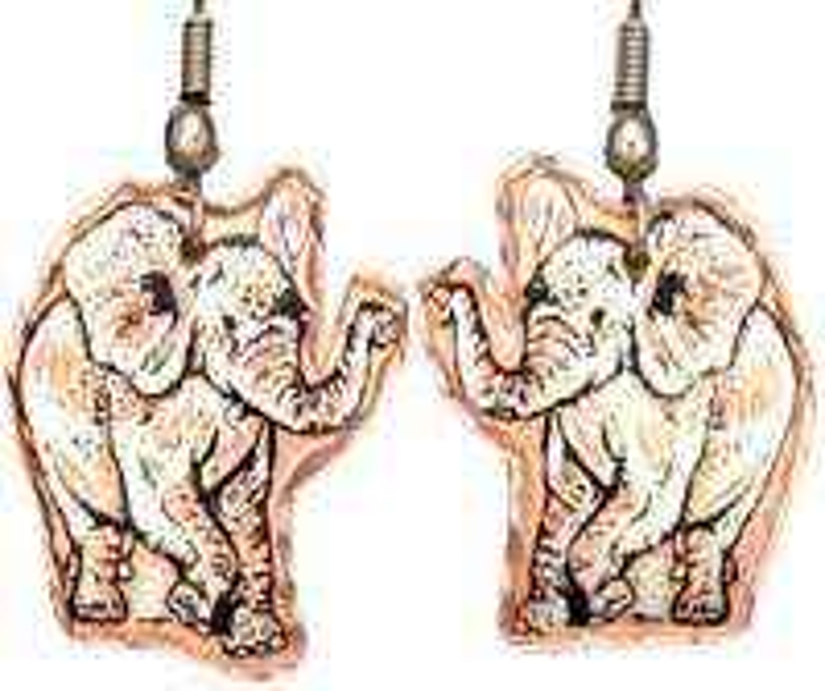 Copper Elephant Earrings