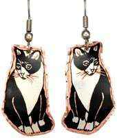 Black and White Sitting Cat Earrings