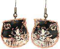 Copper Black and White Cat Earrings