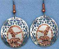 Eagle and Bear Earrings Decorated with Silver Plated Bezels