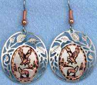 Eagle and Wolf Earrings Decorated with Silver Plated Cut Out Bezels