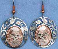 White Cat Earrings Decorated with Cut Out Silver Plated Bezels