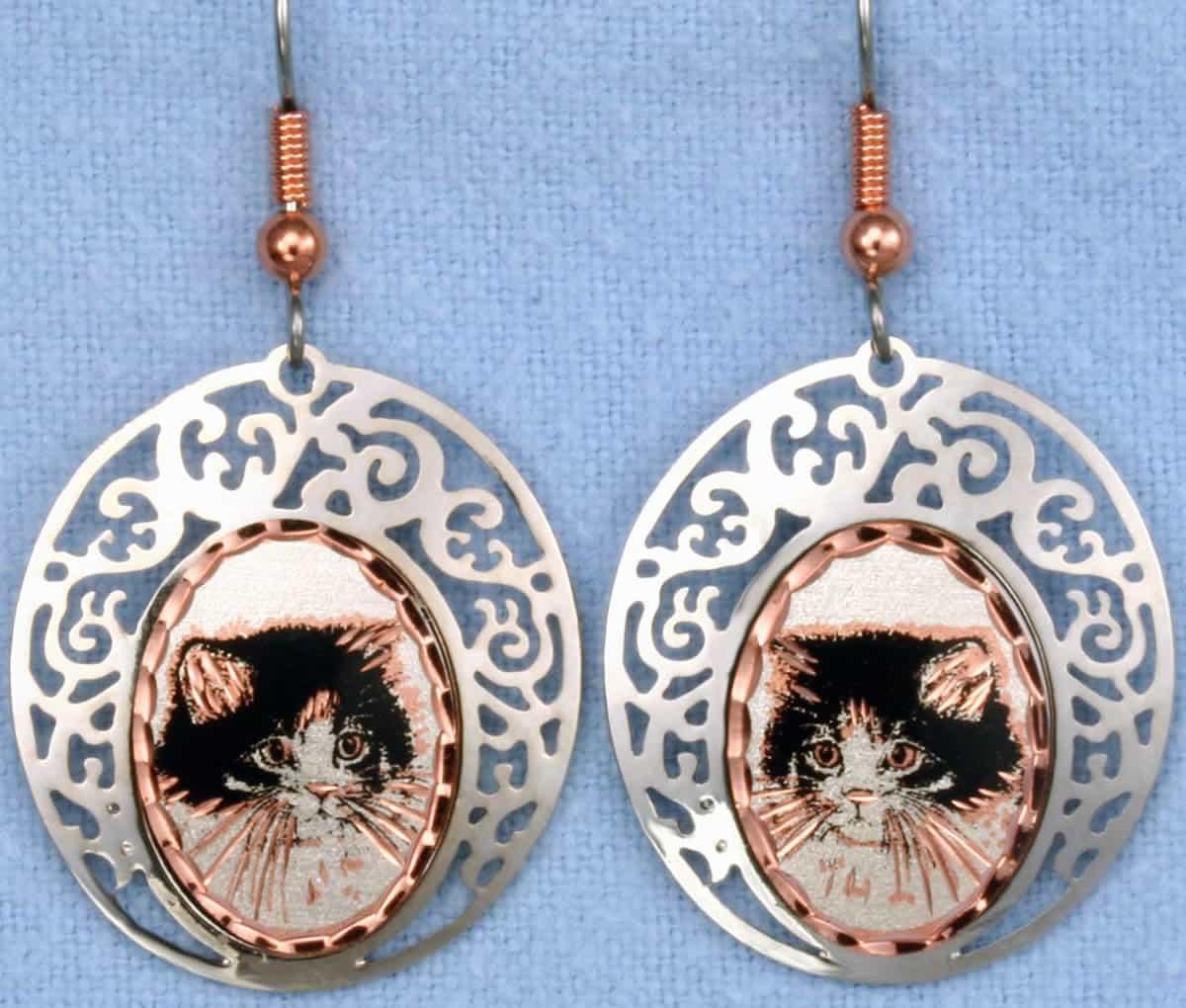 Silver Plated Bezels Cute Kitten Earrings