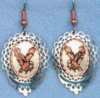 Flying American Eagle Earrings Embellished with Silver Filigree Bezels