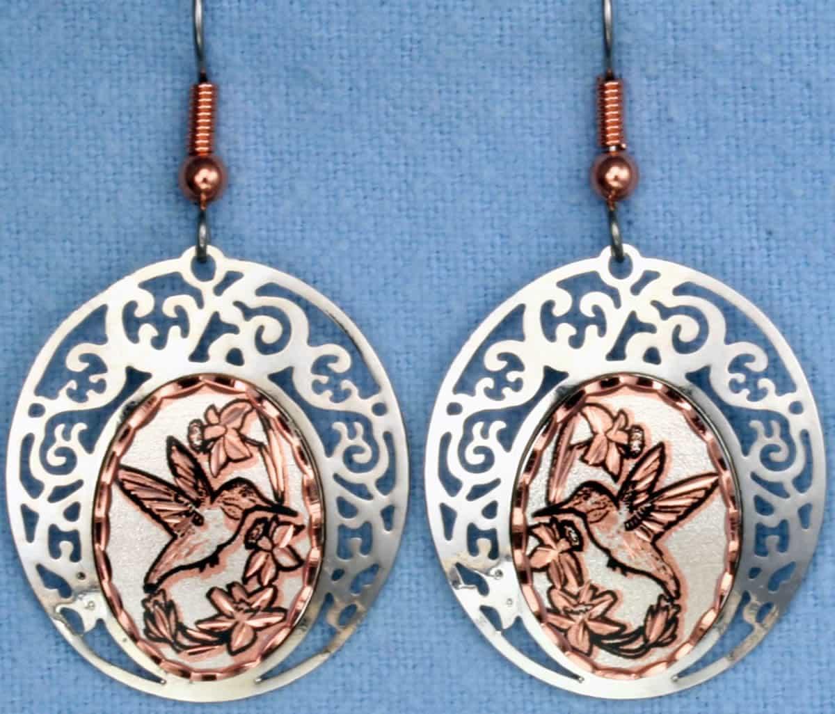 Cut Out Filigree Hummingbird Earrings