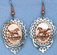 Filigree Style Handcrafted Horse Earrings