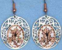 Copper Maple Leaf Earrings with Silver Color Bezel
