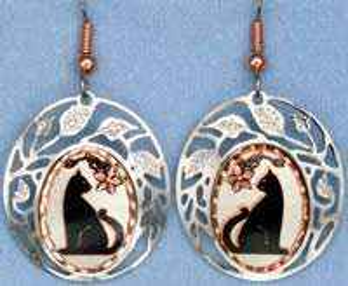 Cat Earrings, Unique Handcrafted Earrings