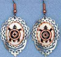 Handcrafted Turtle Earrings Decorated with Cut Out Filigree Bezel