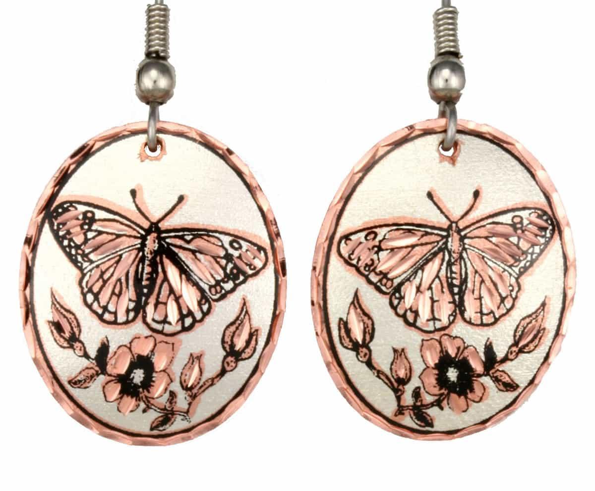 Oval Copper Handmade Butterfly Earrings