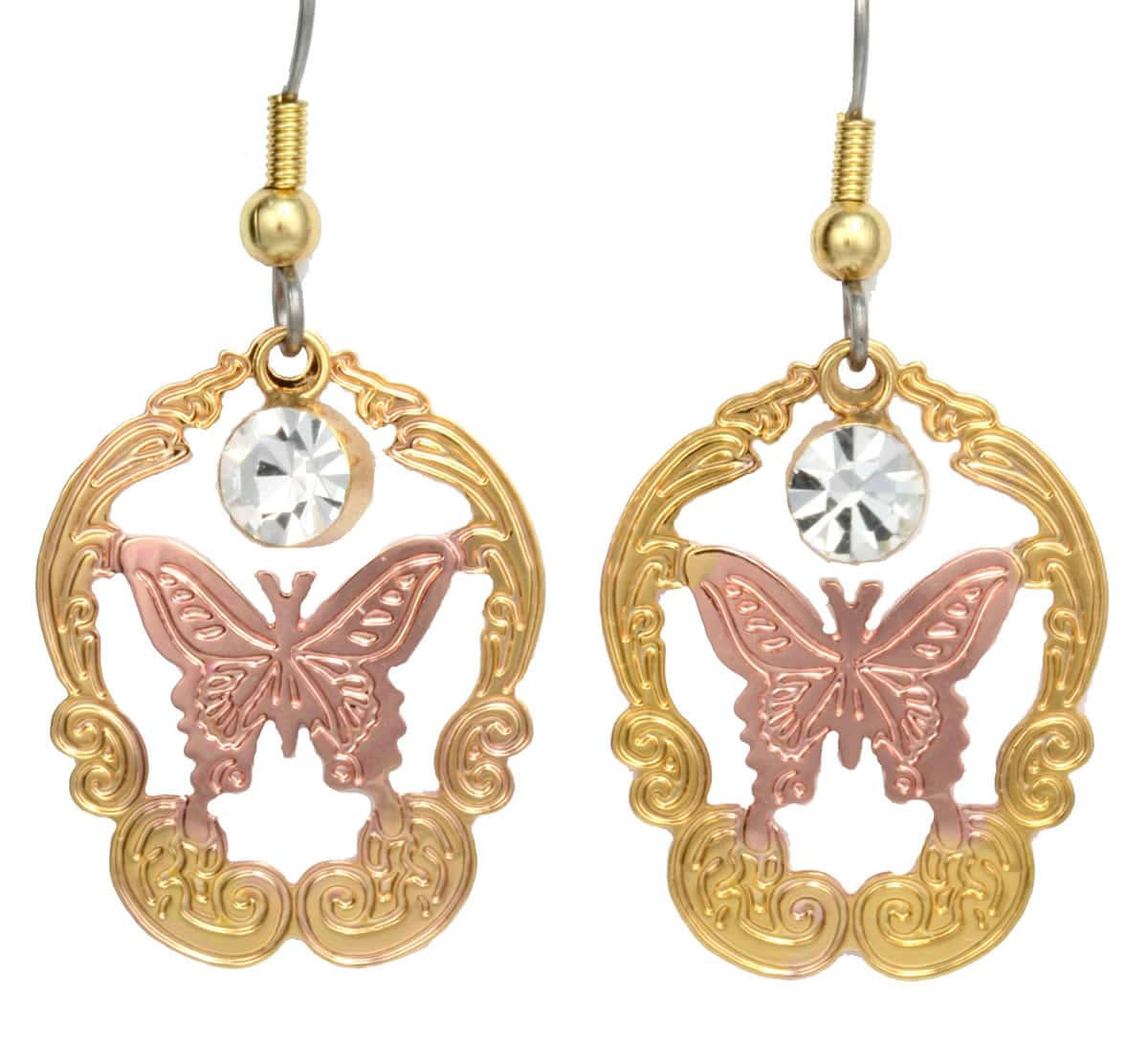 Cut Out Butterfly Earrings with Dangle Crystals