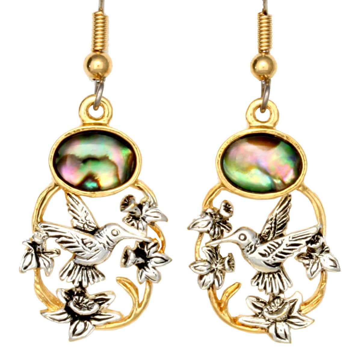Fashion Wholesale Hummingbird Earrings with Abalone Shell Inlay
