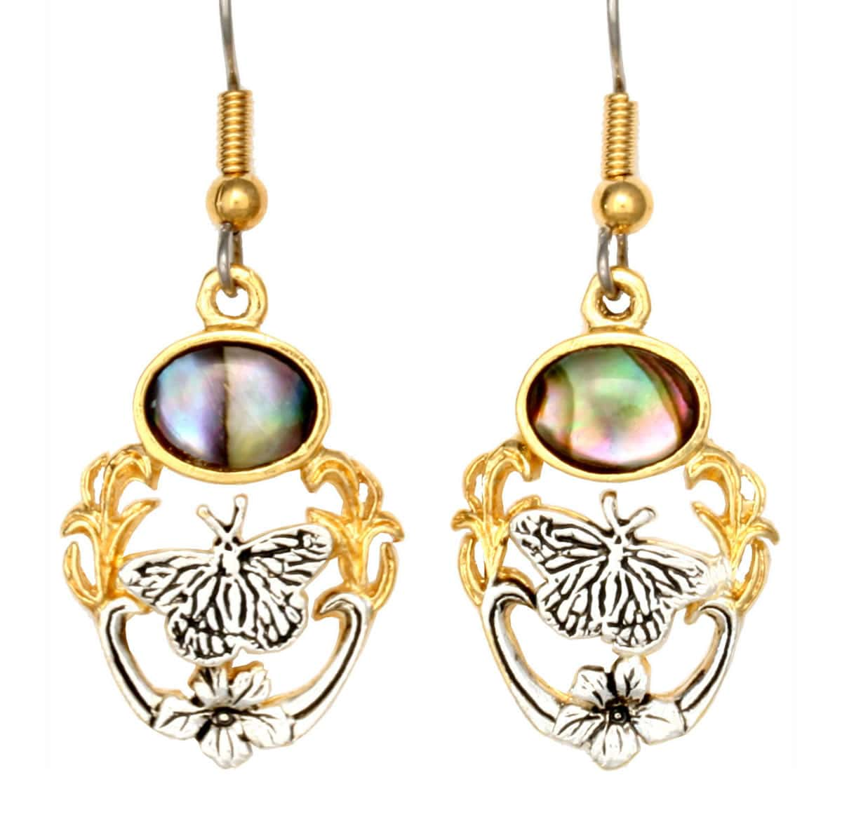 Cut Out Wholesale Butterfly Earrings with Abalone Shell Inlay