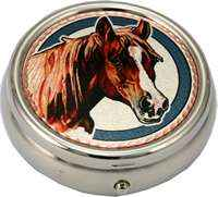 Brown horsehead pill boxes handmade from amazing watercolor artwork by Lynn Bean