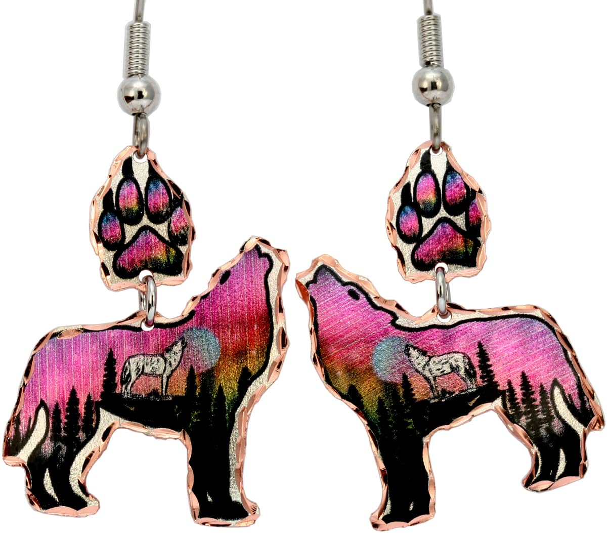 Howling Wolf and Wolf Paw Earrings