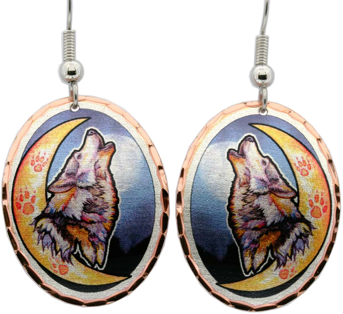 Howling Wolf at Moon Earrings