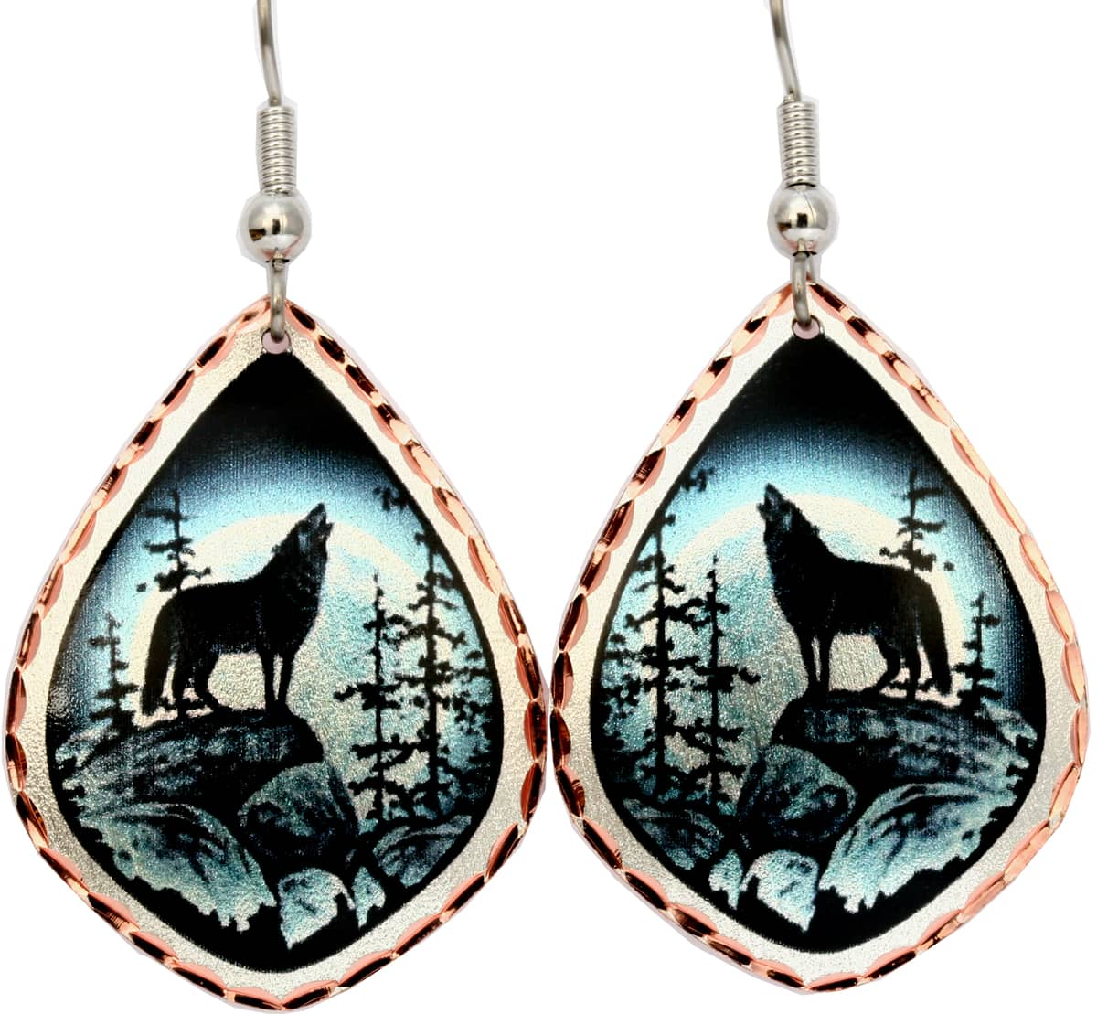 Howling at Moon Wolf Earrings