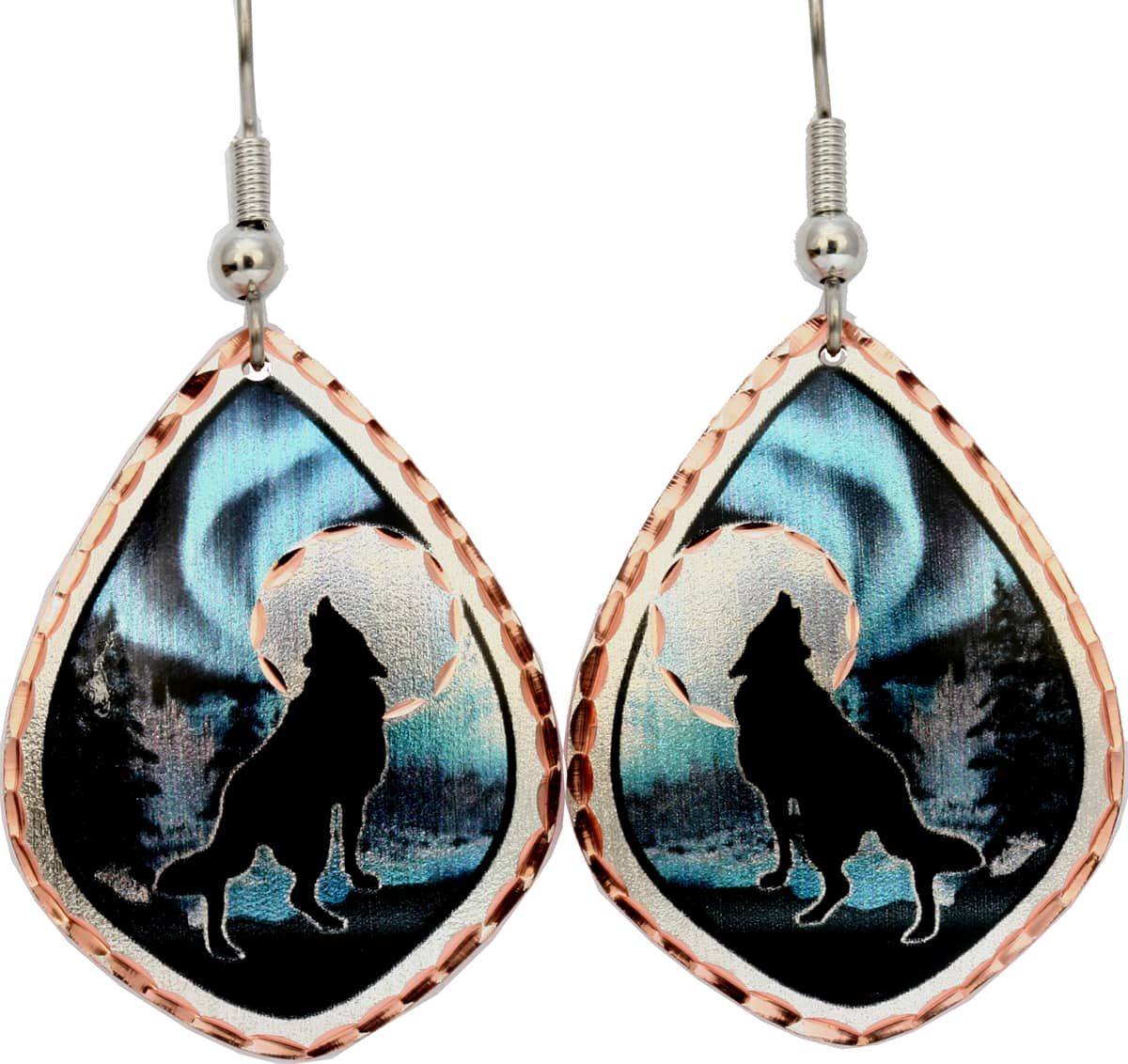 Northern Lights, Howling Wolf Earrings