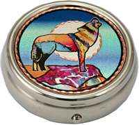 Copper Howling Wolf Art Decorated Pill Boxes