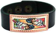 Leather Jewelry, Colorful Feathers Artwork Bracelets