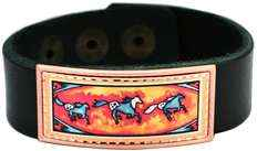 Leather bracelets with Native Indian Horses design by Lynn Bean.