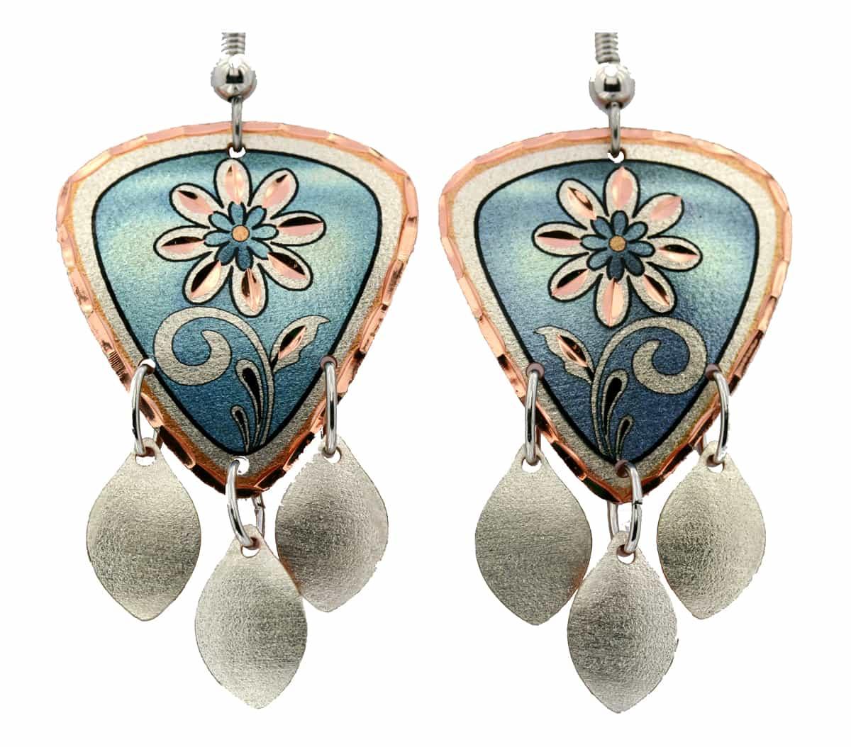 Light Blue Flower Dangle Earrings