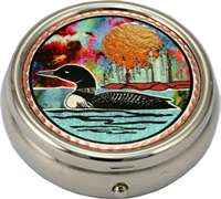 Buy colorful copper artwork decorated loon decorative pill boxes