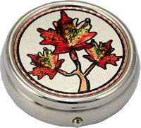 Copper Maple Leaf Artwork Decorated Pill Boxes