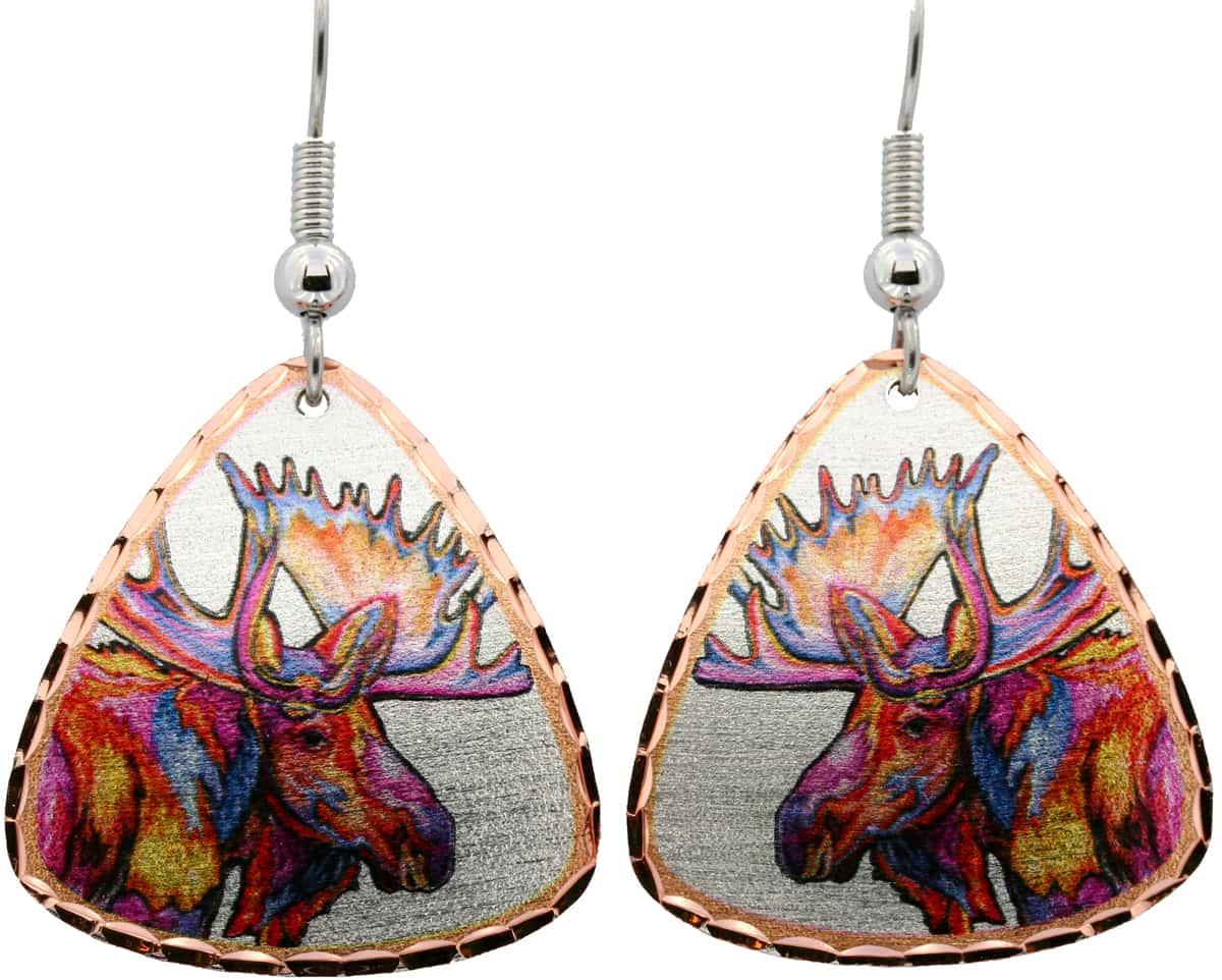 Rainbow Water Color Moose Earrings