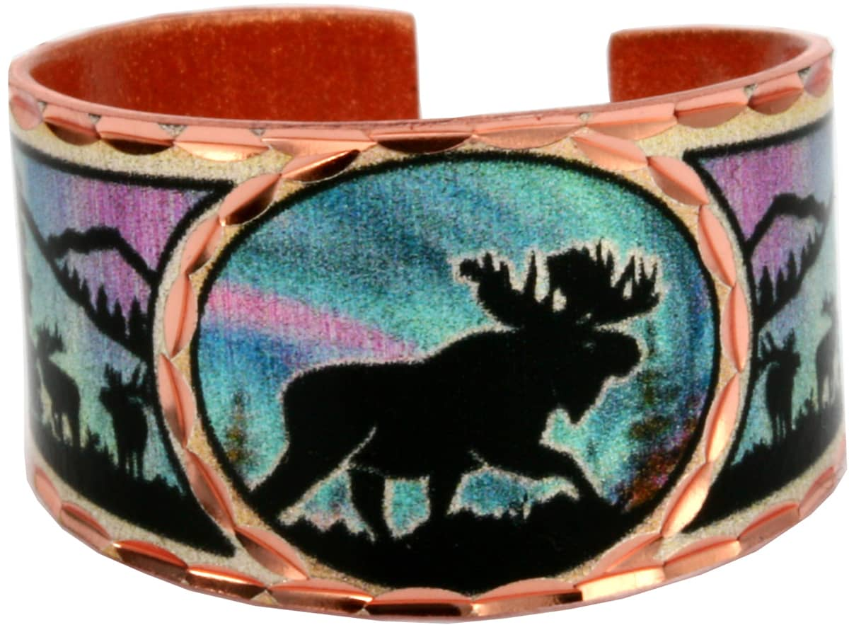 Unique Alaska Jewelry, Moose and Northern Lights Copper Rings