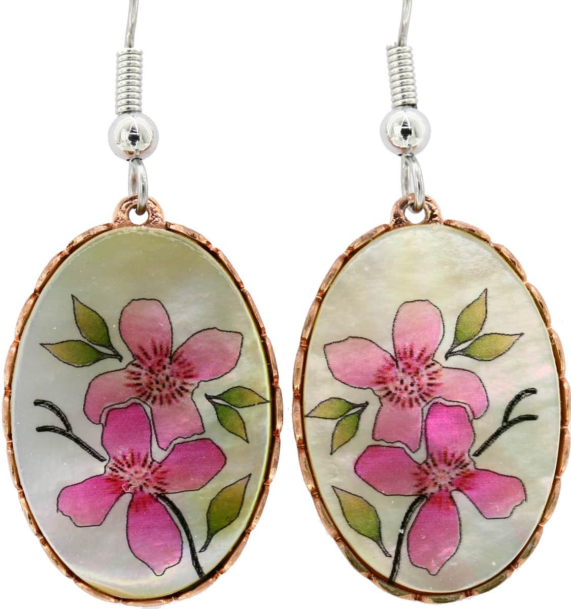 Mother of Pearl Pink Flowers Earrings