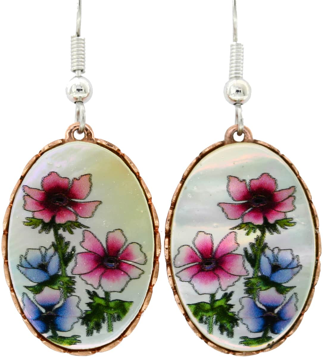 Colorful Flowers Mother of Pearl Earrings
