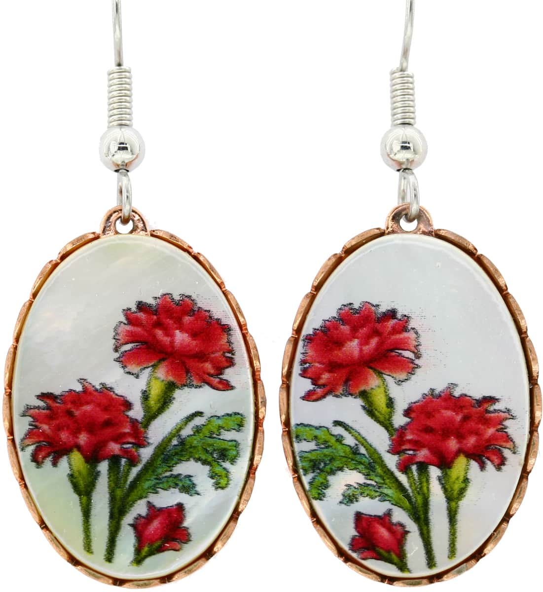 Mother of Pearl Carnation Flowers Earrings