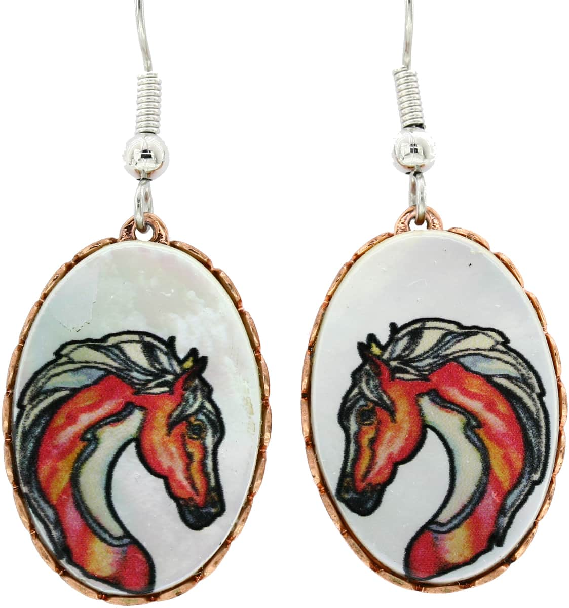 Horse Earrings Created Using Copper Bezels with Shell Inserts