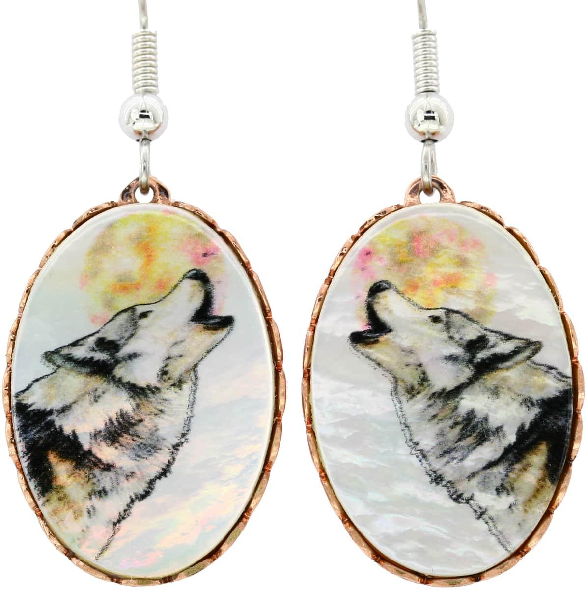 Shell Howling Wolf Earrings