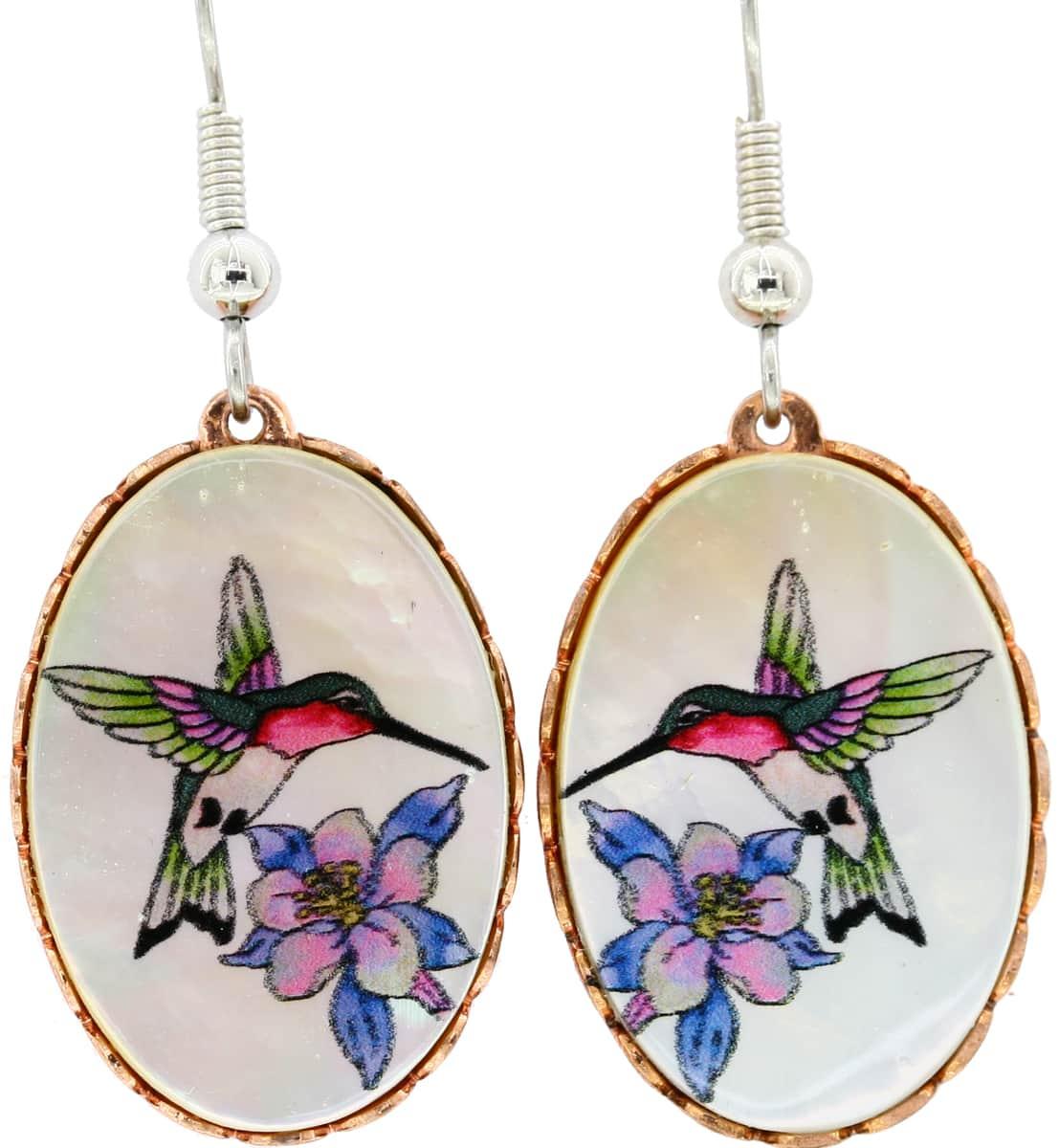 Flowers & Hummingbird Earrings