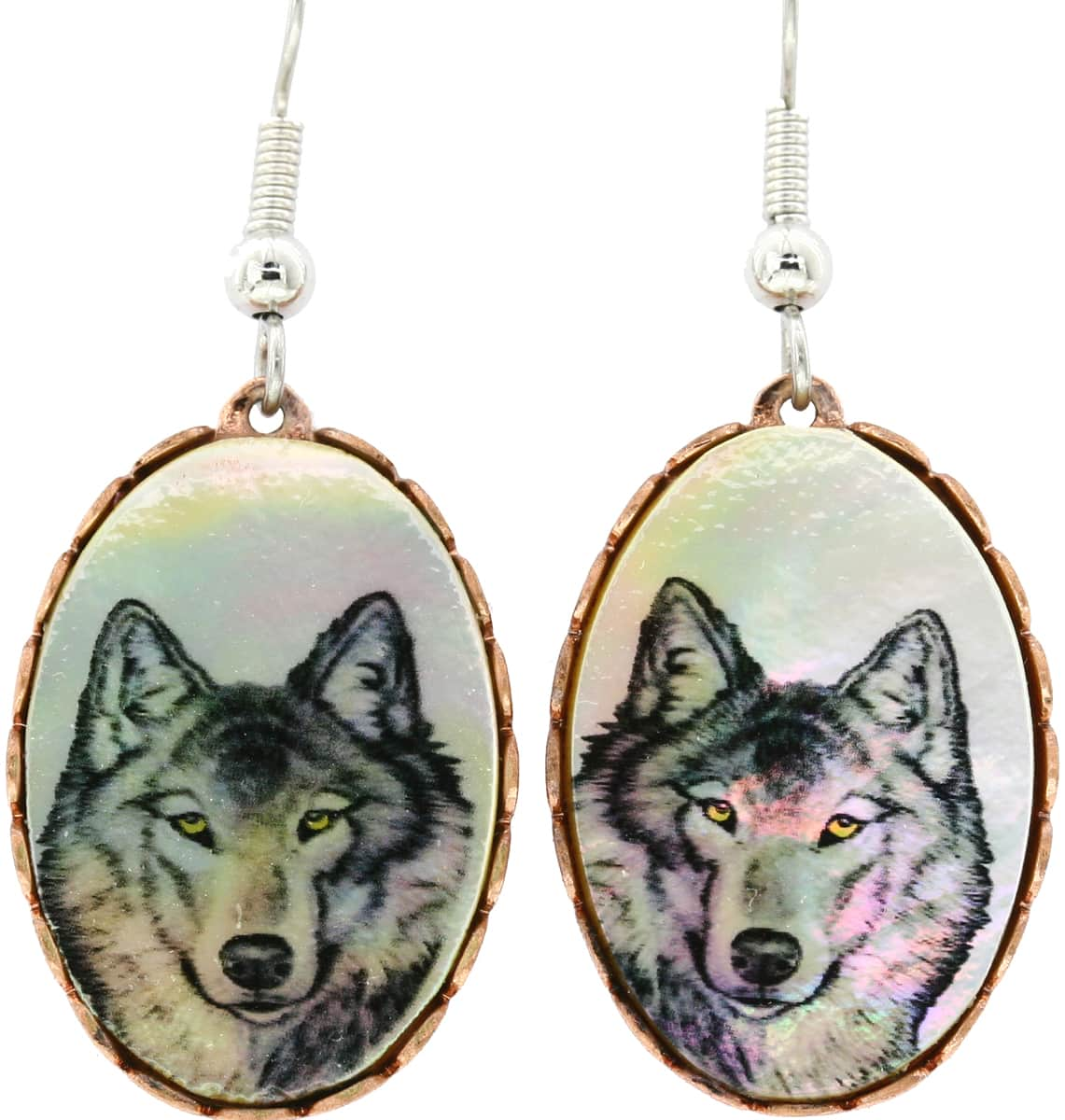 Mother of Pearl Shell Wolf Earrings