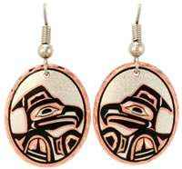 Oval Eagle NW Native Indian Earrings