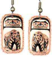 Grizzly Bear Earrings Embellished with Bear Totem Design