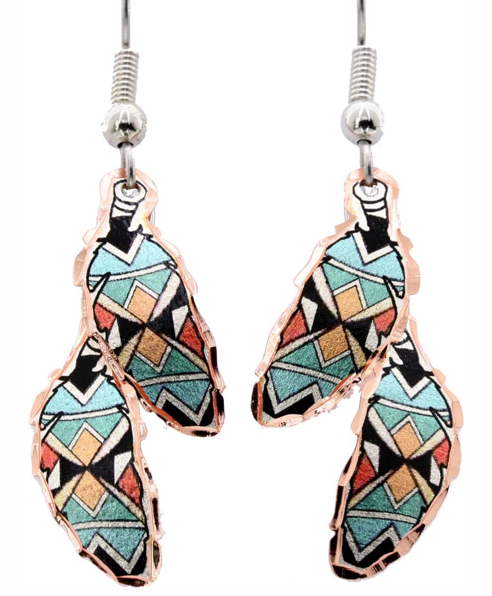 Native Feather Art Copper Earrings