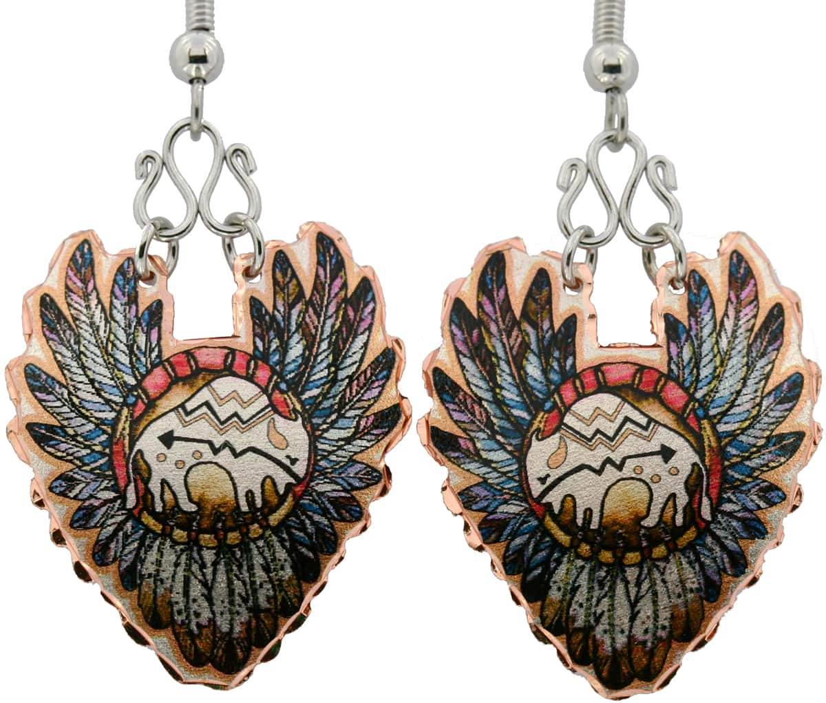 Native Indian Buffalo and Feathers Earrings