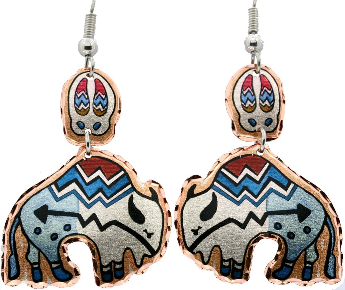Native American Dangle Buffalo Earrings