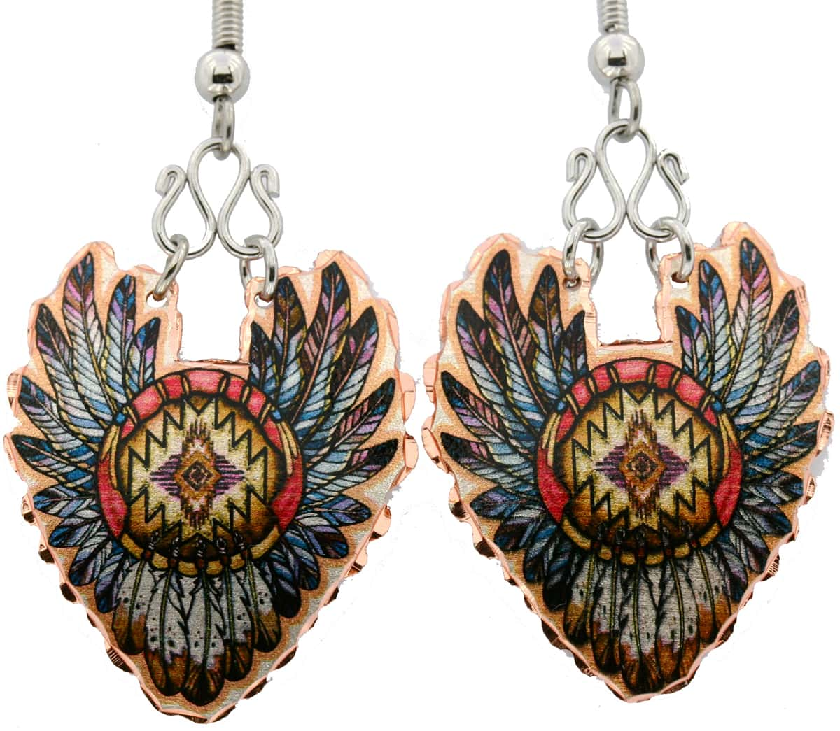 Native Indian Eagle Feathers Earrings