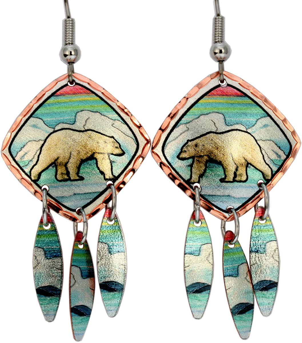 Alaska Jewelry, Handmade Polar Bear Earrings